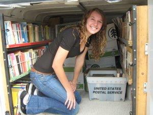 Lauren Berry inside the Bookmobile
